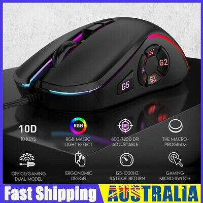 AU22.78 • Buy Wired Usb Gaming Optical Mouse For Pc Laptop Computer 10 Buttons Rgb Mouse