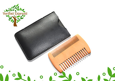 £3.59 • Buy Wooden Beard & Hair Comb With Free Carry Pouch Included - Grooming & Styling