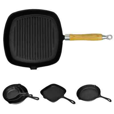 £15.99 • Buy New Cast Iron Grill Pan BBQ Skillet Wooden Handle Ribbed Griddle Base Kitchen
