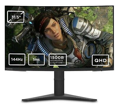 £266.65 • Buy Lenovo G32qc-10 31.5 Inch 144Hz QHD Tiltable Curved Gaming Monitor