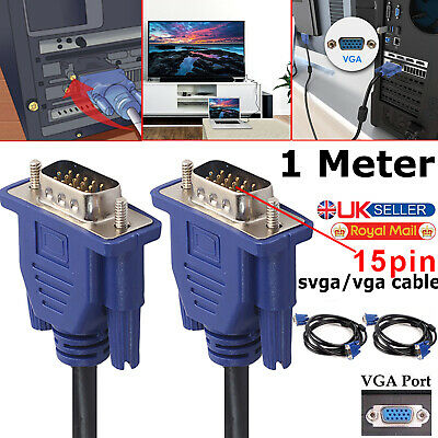 £2.99 • Buy  1m Male Cable Monitor Vga Lead Svga Pin 15 Pc Lcd Tft Tv Projector Female Led
