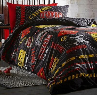 £10.79 • Buy Single Duvet Set Black Red Yellow Keep Out Skull Boys Bedding Teen Quilt Cover