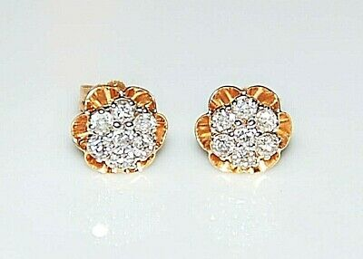 £176.55 • Buy 14K Yellow Gold Small Floral Diamond Cluster Buttercup Stud Earrings - NICE!