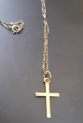 £19.99 • Buy 9ct Yellow Gold Cross Pendant On A 375 Fine Chain.