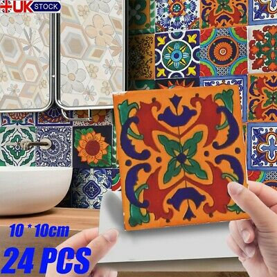 £6.99 • Buy 24 X Moroccan Style Tile Wall Stickers Kitchen Bathroom DIY Self-Adhesive Mosaic