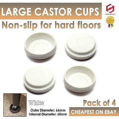 £2.80 • Buy 4x LARGE ANTI SCRATCH CASTOR CUPS White Carpet/Wooden/Tile Floor Protector New