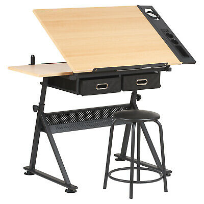 £79.99 • Buy Sale Drawing Table With 2 Drawers Drafting Bench Artists/engineering Desk #820