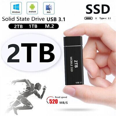 AU48.79 • Buy Aluminum External 2TB SSD Super Speed USB 3.1 Solid State Drive Fit For Desktop