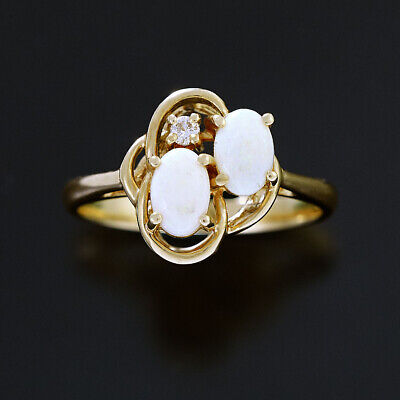 AU489 • Buy Two Stone Opal And Diamond Ring 14K Yellow Gold Openwork Knot Design Promise R