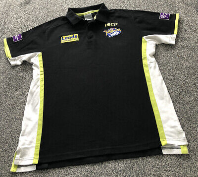 £15 • Buy ISC Leeds Rhinos Black Rugby League Polo Shirt Top - Adults Men's Size Large L
