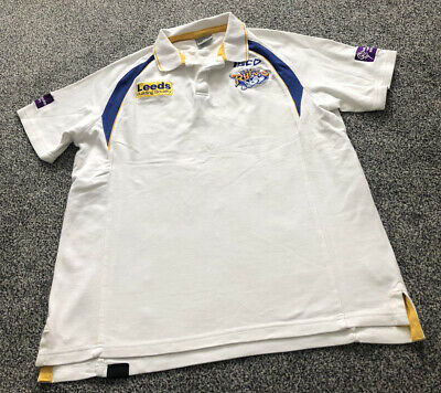 £15 • Buy ISC Leeds Rhinos White Rugby League Polo Shirt Top - Adults Men's Size Large L