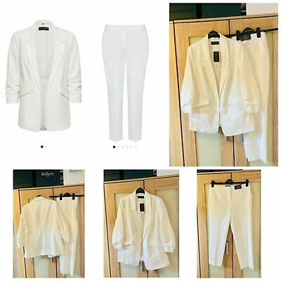 £34.99 • Buy SIZE 12 Ivory TROUSER SUIT Dorothy Perkins Blazer Tapered Trousers BNWT Wedding?