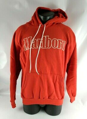 $ CDN90.88 • Buy Vintage 90s MARLBORO Spellout Hoodie Sweatshirt Country Red FITS SMALL XL 46-48