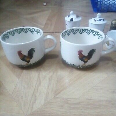 £10 • Buy Two Large Cups Decorated With Cockerels Possibly Moorland Burslem