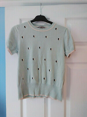 £0.99 • Buy Oasis Ladies Size 10 Top, Knit Feel, Light Green With Hearts.