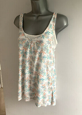 £9.99 • Buy FAT FACE Ivory Delicate FLORAL Leaf Print 2in1 Layer CUT OUT Vest Top UK Size 10