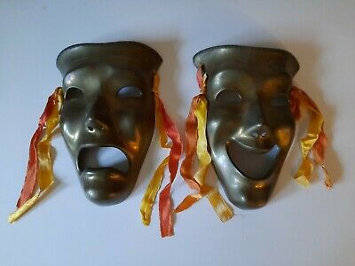 £17.40 • Buy Set Of Two Comedy & Tragedy- Solid Brass Wall Masks.