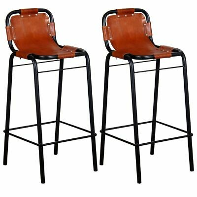 £163.99 • Buy VidaXL 2x Bar Stools Genuine Leather Kitchen Counter Seat Chair Furniture