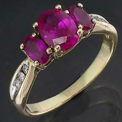 AU185 • Buy Modern Solid 9k Yellow GOLD TRILOGY Of 3 OVAL RED RUBY & 6 Diamond RING Sz O1/2
