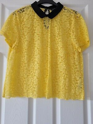 AU9.13 • Buy Zara Women Yellow Lace Top Blouse Size Large New Without Tags.