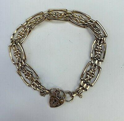 £150 • Buy Vintage 9 Ct Yellow Gold Triple Bar Gate Bracelet With Heart Locket Clasp 6.1gms