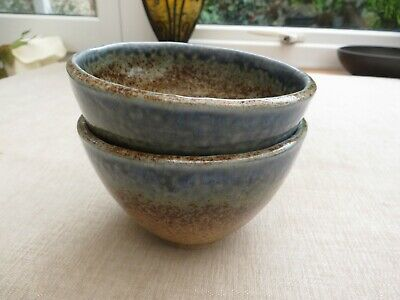 £15 • Buy Stunning Studio Pottery Bowls Marked  St Ives Gallery Cornwall  Sea Blue/sand