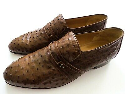 $ CDN1367.60 • Buy ARTIOLI Brown Ostrich Leather Loafers Shoes 10.5 US 43.5 Euro 9.5 UK