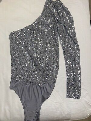£16 • Buy Zara Sequin Silver One Shoulder Bodysuit/ Size XS/ Perfect Condition