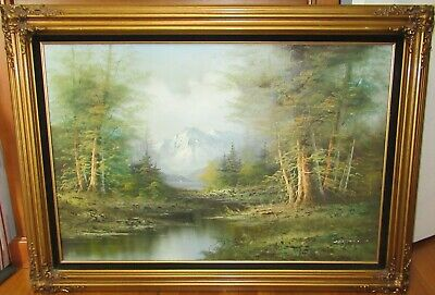 $ CDN874.90 • Buy Cantrell Huge Original Oil On Canvas Winter Snow River Landscape Painting