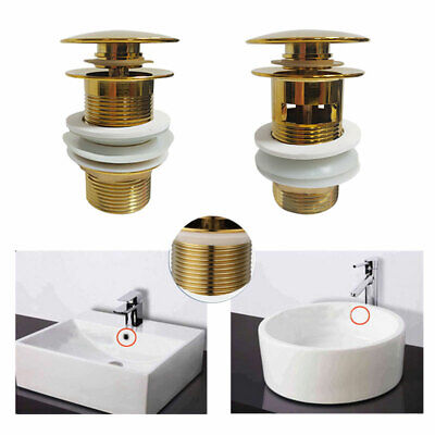 £11.10 • Buy Bathroom Basin Brass Waste Sink Pop Up Push Button Click Clack Plug Slotted