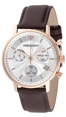 £79 • Buy YVES CAMANI Batiste Chronograph Stainless Steel Case Rose Gold Leather Brown New