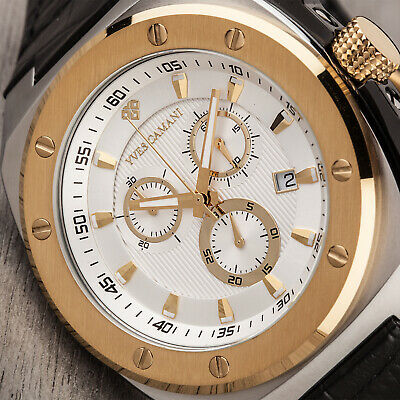£119 • Buy YVES CAMANI Quentin Mens Watch Stainless Steel Gold Chronograph New