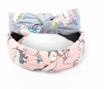 £3.89 • Buy Girls Childrens Kids Unicorn Print 2.8cm Knotted Wide Hair Band Alice Band