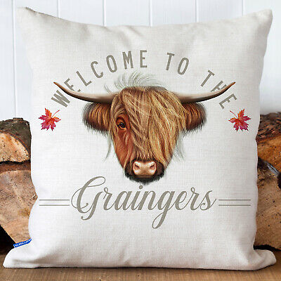 £12.95 • Buy Personalised Cow Cushion Cover Country Family Name Welcome Pillow Gift KC87