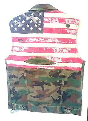 £28.20 • Buy Smoke Rise Mens LARGE Camo American Flag Trucker Vest Excellent