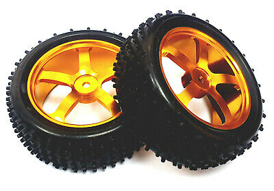 £17.99 • Buy 166019 1/10 Scale Off Road RC Buggy Front Wheels And Tyre Gold 5 Spoke X 2