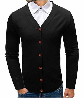 $16.99 • Buy APRAW Mens Casual Slim Fit V-Neck Button Down Cardigan Sweater Black Size Large