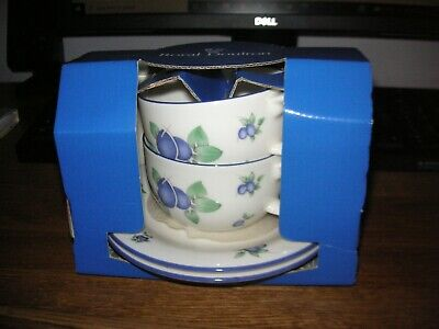 £12.99 • Buy BNIB Royal Doulton Everyday Blueberry Cups And Saucers X 2