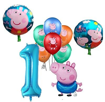 £9.99 • Buy 10 Piece Set Of George Pig Foil 1ST Number Balloons Kids Birthday Party Latex