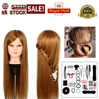 £19.99 • Buy 24  Real Hair Makeup Mannequin Training Head Practice Hairdressing Doll + Clamp