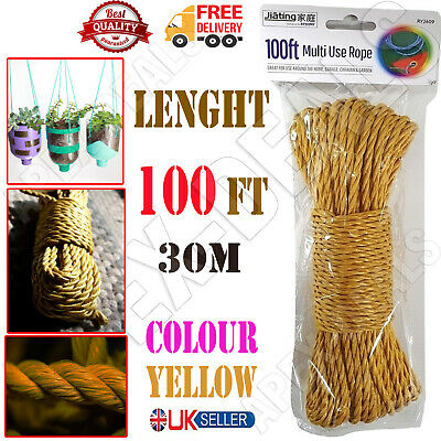£4.75 • Buy 🔥100ft Strong Nylon Rope Washing Clothes Line Bright Colored Garden Camping 30m