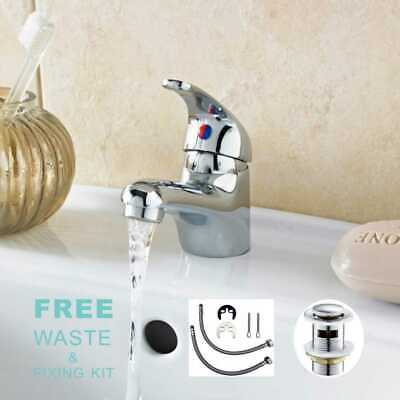 £17.99 • Buy New Cloakroom Faucet Modern Bathroom Basin Sink Mono Chrome Mixer Tap & Waste