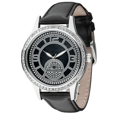 £69 • Buy Yves Camani Rouen Womens Watch Stainless Steel Silver Black Leather Strap New