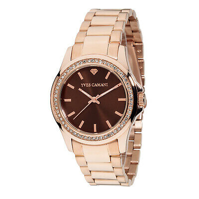 £89 • Buy YVES CAMANI Montpellier Womens Watch Stainless Steel Rosegold Brown Dial New