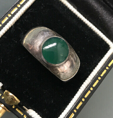 £75 • Buy Men's/Women's Vintage Silver Jade Ring Size L Stamped Weight 3.1g Stone Size 7mm