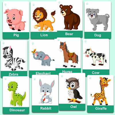 £4.99 • Buy Children's Animals Flash Cards Kids Educational Pre School Learning Child Gift