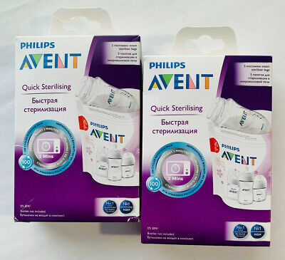AU24.99 • Buy 2 X Philips AVENT Microwave Steam Quick Sterilising Bags - Pack Of 5 Each