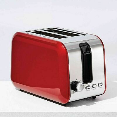 AU56.80 • Buy Stainless Steel 2 Slice Toaster Red & Chrome Defrost Reheat Cancel Electric New