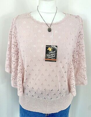 £16 • Buy Pink Broderie Anglaise Crochet Bat Wing Slouchy Multicolour Knit Jumper -  10 12