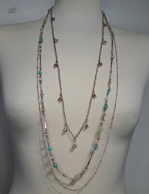 £9.99 • Buy Accessorize Long Gold Tone Multi Strand Necklace Inc Beads Ball Style Chain
